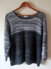 Jumper Sweater Hobbs Size 16 Grey Black Cotton Knit