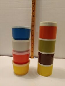Vintage 1970s Tupperware Stackable Spice Shaker Set + 4 Little Wonder Containers