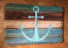 Rubber Kitchen Mat -anchor Coastal Theme (blues, Browns) For Small Space