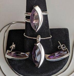 """Sterling Silver Ring Necklace & Earrings Set Purple Glass 11.4g 18"""" Sz 7.5 Adj"""