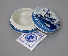 alte Delft Keramik Deckeldose Schmuckdose Butterdose Spritzdekor Vintage 60er J.