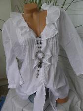 Sheego Bluse Gr. 40 bis 54 weiß mit schönen Rüschen (656) NEU