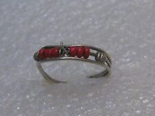 Vintage Sterling Silver Red Beaded Toe Ring, Sz. 3, open back, multi-band