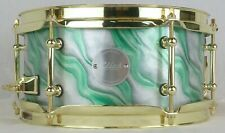 Click Drums Custom 5x10 Mint Polar Pearl 10ply Maple Snare Drum Brass Tube Lugs