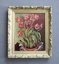 Vintage Mid-Century Still-Life Oil Painting of Tulips Flowers