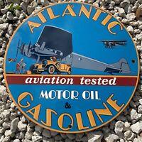 """VINTAGE ATLANTIC GASOLINE PORCELAIN SIGN 12"""" AVIATION MOTOR OIL GAS PUMP PLATE"""