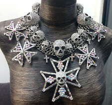 Butler and Wilson LGE Clear Crystal Skull Medal Cross Collar Necklace LTD STOCK!