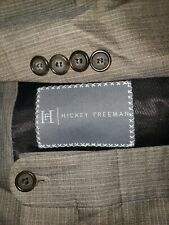 HICKEY FREEMAN Mens 48R 42x31 Brown/Tan StripeWOOL/SILK 3 Button Two Piece Suit