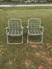 2 Vintage Aluminum Folding Lawn Chairs Outdoor Patio Furniture Spring Loaded EUC