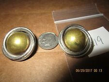 Two Toned Dome Clip Earrings c19 Modernist Mexico Taxco 925 Sterling Large