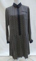 Hobbs NW3 black/beige crepe feel drop waist long sleeve dress Size 12