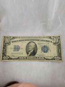 "1934 A US $10 ""Blue Ten"" Silver Certificate F/VF Condition"