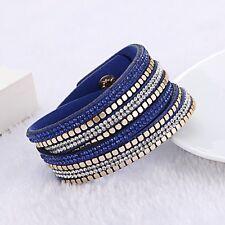 Made With Swarovski Elements Gold Stud & Suede Double Wrap Strap Bracelet Blue