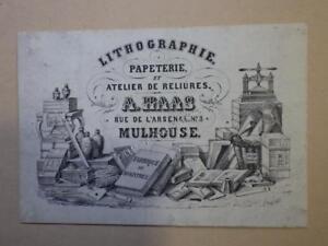 1850.Trade card publicité Haas rue arsenal à Mulhouse (lithographie reliure).