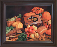 Food and Bread Still Life Kitchen Wall Art Decor Mahogany Framed Picture (18x22)
