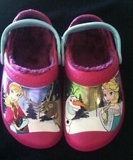 Crocs Frozen Fuzz Lined Clog Little Girls Size 12/13. New