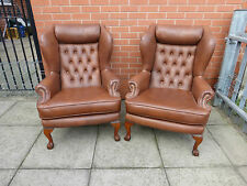 Pair Of Brown Leather Queen Ann Chesterfield Wing Chairs ***DELIVERY AVAILABLE**