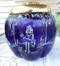 "LARGE FENTON ART GLASS MARY GREGORY OOAK ROYAL PURPLE LIDDED BOX ""MUST SEE"""