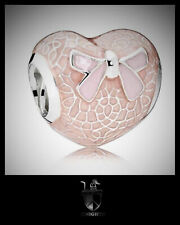 Genuine Sterling Silver PANDORA Pink Bow & Lace Charm 792044 S925 ALE
