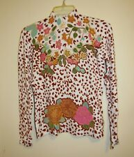 Vertigo Long Sleeves Beige Mock Neck Top with Cheetah Print Colorful Flowers, S