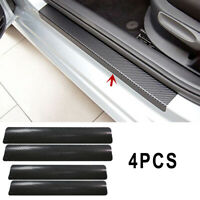 4* Black Carbon Fiber 3D Car Door Sill Scuff Plate Cover Anti Scratch Stickers