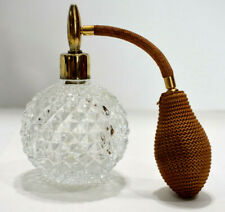 Vintage Perfume Atomizer Bottle Clear Glass Diamond Cut Refillable Round Puffer