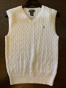 Men's Ralph Lauren POLO Cable Knit Sweater Vest White Size L 100% Pima Cotton