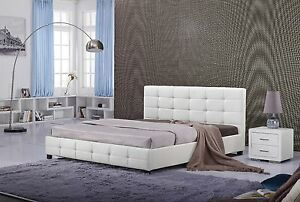 #4009 Gorgeous Modern Tufted Cal/Eastern king Size White PU Leather bed