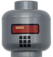 Lego New Silver Minifigure Robot Head with Red Eyes Piece
