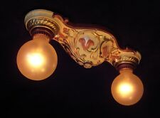 VILLA ROSE ART NOUVEAU FLUSH MOUNT CEILING LIGHT FIXTURE  Ca 1925 RESTORED