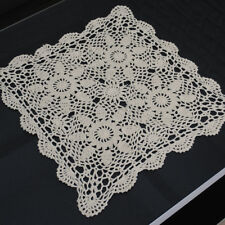 Vintage Hand Crochet Lace Doily Table Topper Beige Square Table Cloth Cover 15""