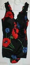 Vtg Perfection Fit Roxanne Ladies Black Floral Bathing Suit Swim Suit 16 C Pinup