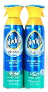 2 Count Pledge 9.7 Oz 3x Better Clean It Rainshower Multi Surface Cleaner Spray