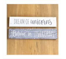 Believe Dream Unicorn Plaque Sign Pastel Purple Hanging Decoration Wood