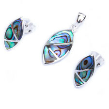 Marquis Shape Abalone Shell .925 Sterling Silver Earring & Pendant Jewelry set