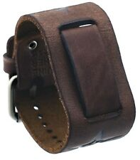 Nemesis FST-BB 20mm Lug Width Brown Star Icon Wide Leather Cuff Watch Band