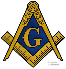 LARGE MASONIC LOGO EMBROIDERED PATCH iron-on FREEMASON SQUARE COMPASS MASON BIG