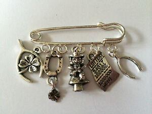 LUCKY IRISH Silver Tone Kilt Pin Brooch 5 lucky charms lovely present gift bag