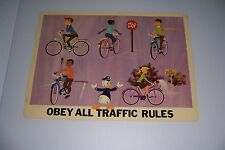 """1966 DISNEY BICYCLE SAFETY OBEY ALL TRAFFIC RULES 18""""X13"""" 102-E DONALD DUCK"""