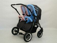 DOUBLE , TWIN PRAM WITH 2 PUSHCHAIR UNITS 2 CARRY COTS AND ALL  ACCESSORIES