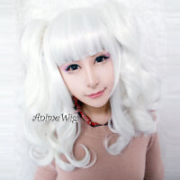 Lolita Anime Cosplay Long White Curly Lovely Lady Girls Hair Wig + Ponytails