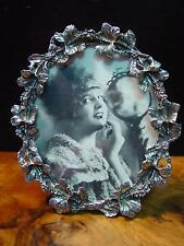 Silver Pewter HIBISCUS BLOSSOMS Oval Picture Frame