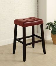 30'H Classic Looking Dark Red Pu Cushion Wood-Leg Saddle Stool Set(2)-Asdi