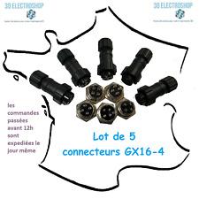 Lot de 5 connecteurs GX 16-4 mâle et femelle