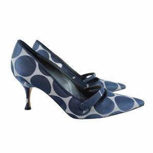 MANOLO BLAHNIK Vintage Polka Dot Kitten Heels Silver Dark Gray Womens Size 35