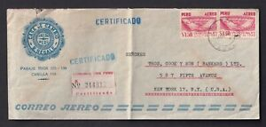 PERU to Thos. Cook & Son (Bankers) 5 Ave 1961 Cover Registered Mail