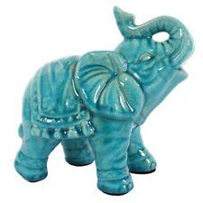 Elefant Keramik türkis gebrochene Glasur Vintage-Look Keramik Höhe 18 cm Deko