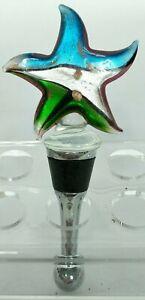 "Blue Gray Green Glass Star Wine Stopper Cork 4.5"""