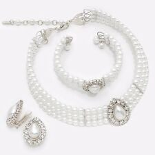White Pearl Bead Choker Necklace Bracelet CLIP Earring Silver Bridal Jewelry Set