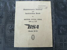 BSA MODEL M 20 MAINTANCE MANUAL AND INSTRUCTION BOOK ORIGINAL AIRFORCE ARMY BOOK